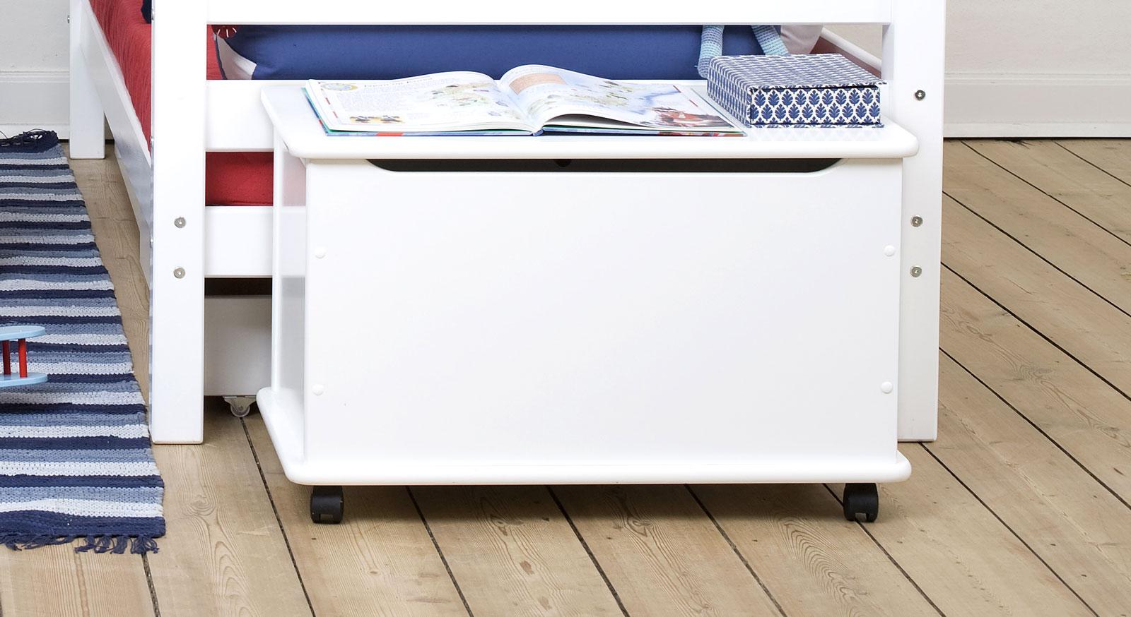 gro e spielzeugtruhe in wei auf rollen kids heaven. Black Bedroom Furniture Sets. Home Design Ideas