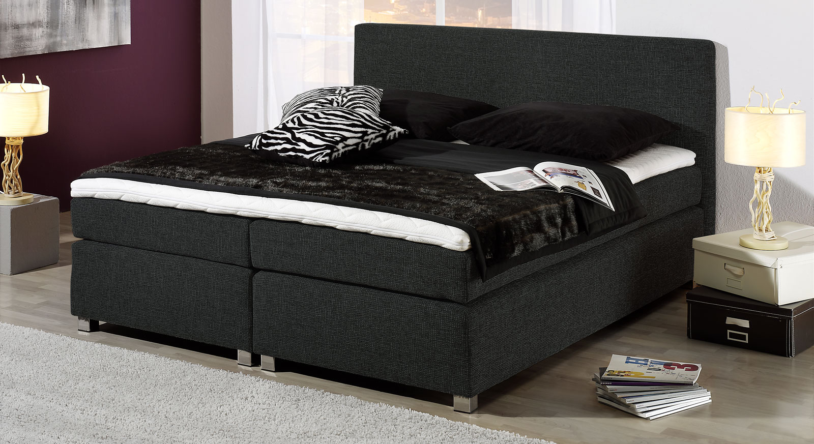 boxspring bettgestell mit kaltschaum topper melbourne. Black Bedroom Furniture Sets. Home Design Ideas