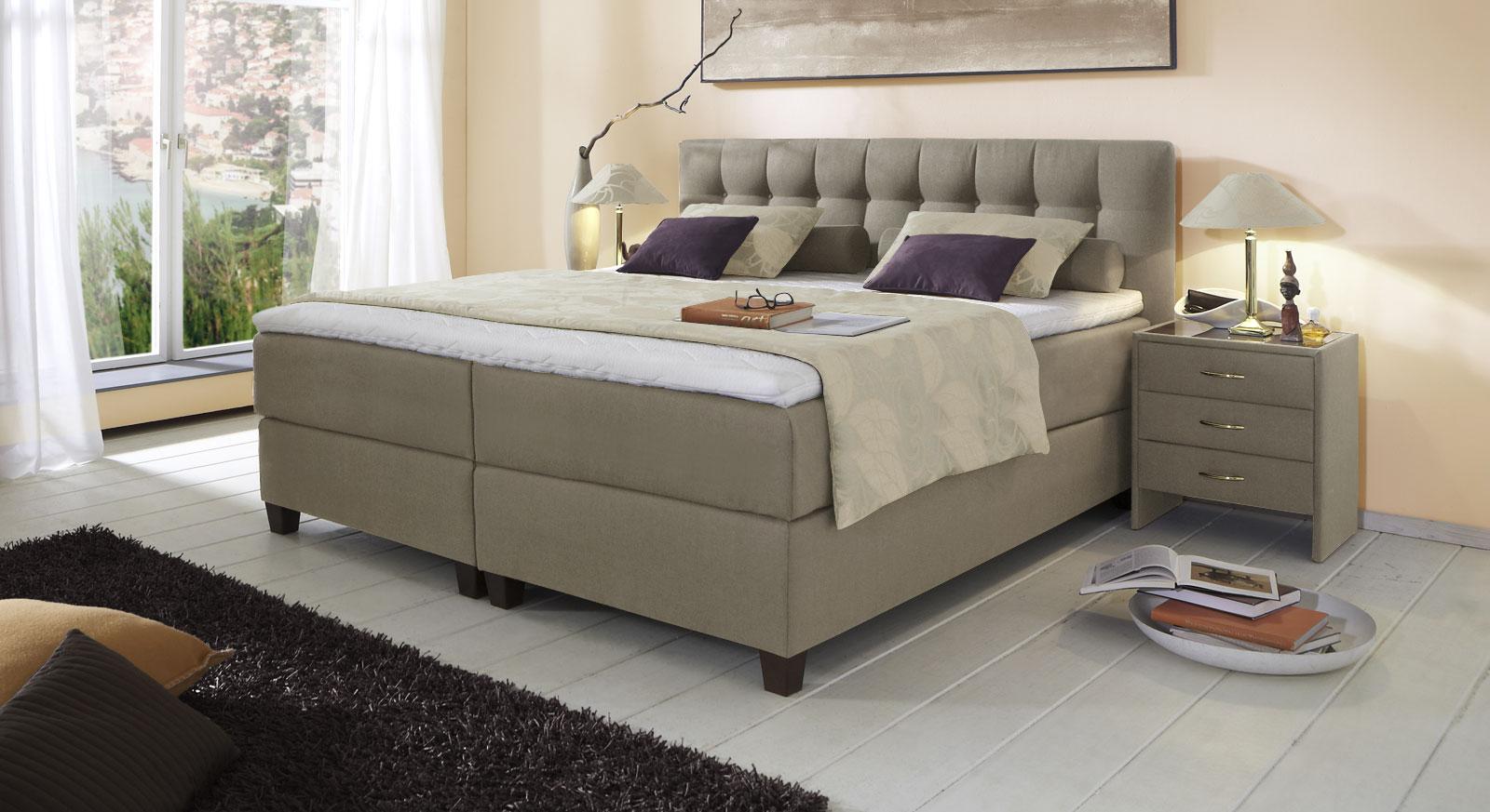 Spring-Box-Bett Luciano mit pflegeleichtem Webstoffbezug in Taupe