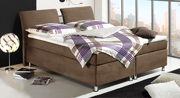 Sping-Box-Bett Mailand mit braunem Stoffbezug