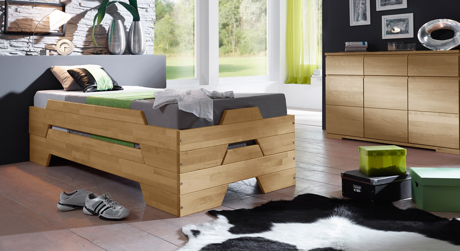 stapelbett aus biologisch ge lter buche 2er set tervo. Black Bedroom Furniture Sets. Home Design Ideas