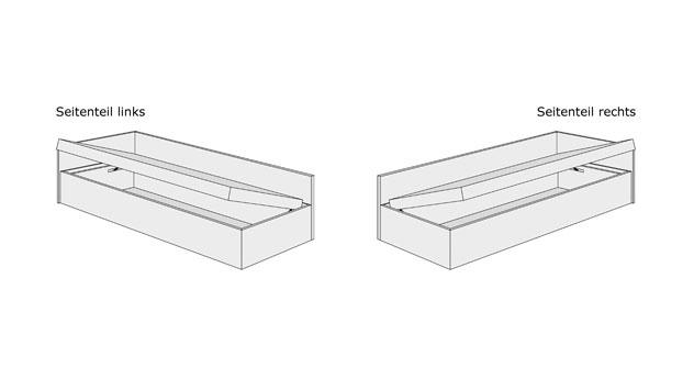 Grafik für Bettkasten-System der Studioliege Enea