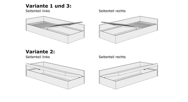 Grafik zum Bettkasten-System der Studioliege