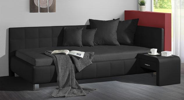 Studioliege Nuca in der Farbkombination schwarz und schwarz