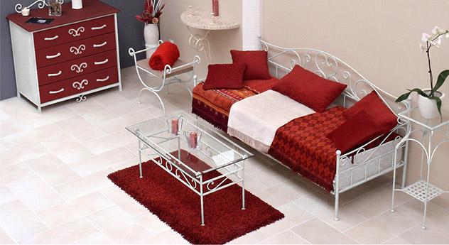 Tagesbett ausziehbar  Ausziehbares Tagesbett handgeschmiedet weiß - Gora