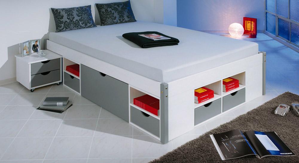 Schubkasten-Doppelbett Trelleborg in weiß und grau