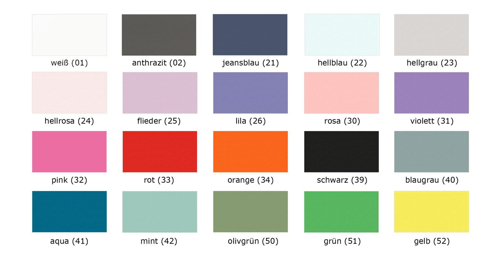 Übersicht der MDF-Farbpalette der Kids Town Produkte