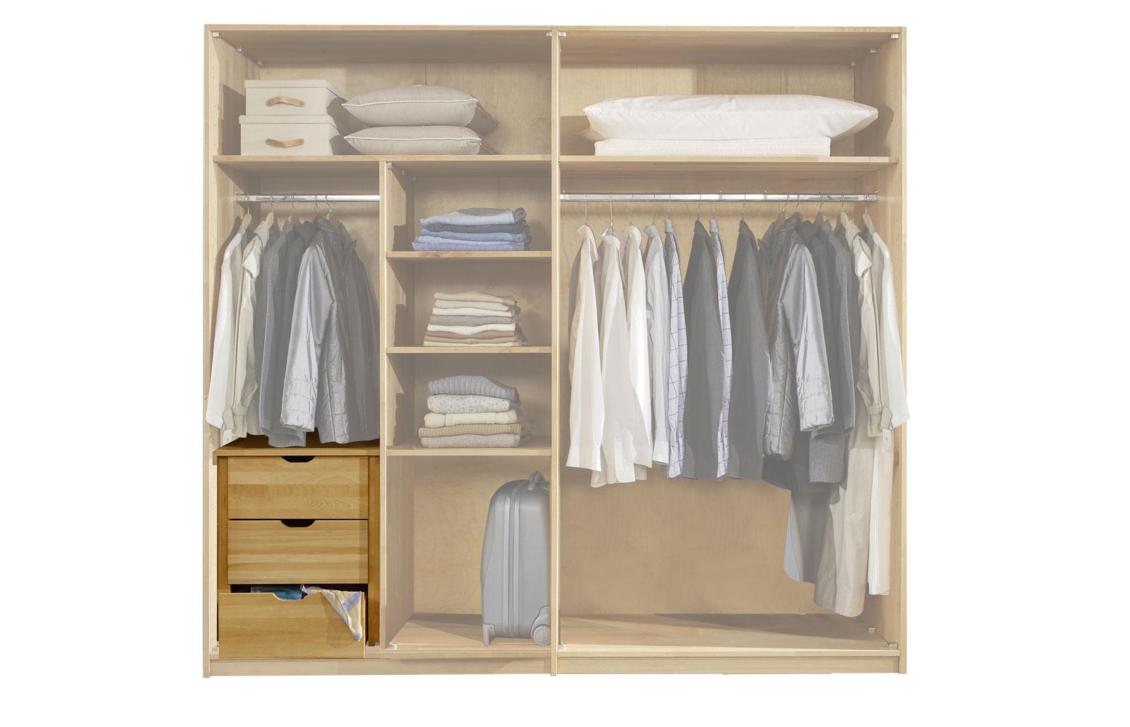 Schubladen als Zubehör für Schwebetüren-Kleiderschränke