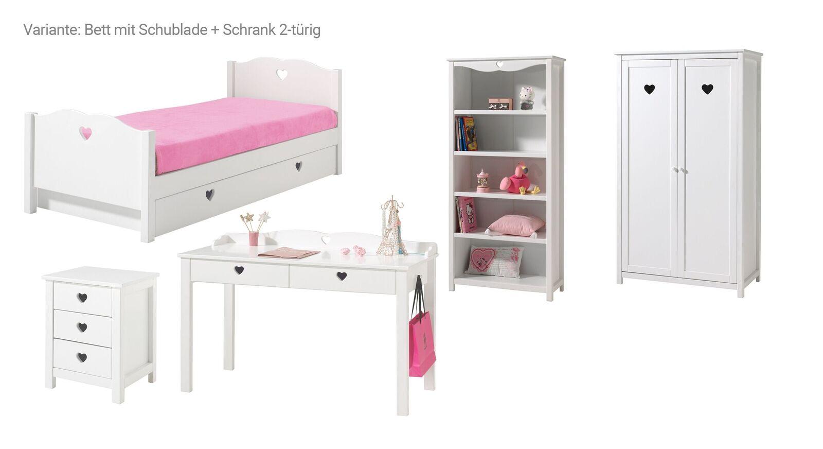 5-tlg Jugendzimmer Asami Bett mit Schublade und 2-türiger Schrank