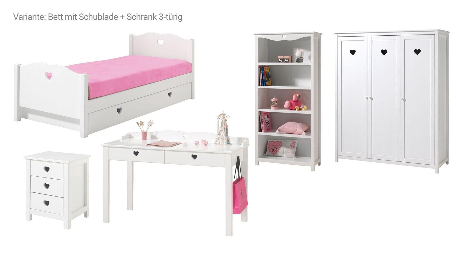 5-tlg Jugendzimmer Asami Bett mit Schublade und 3-türiger Schrank