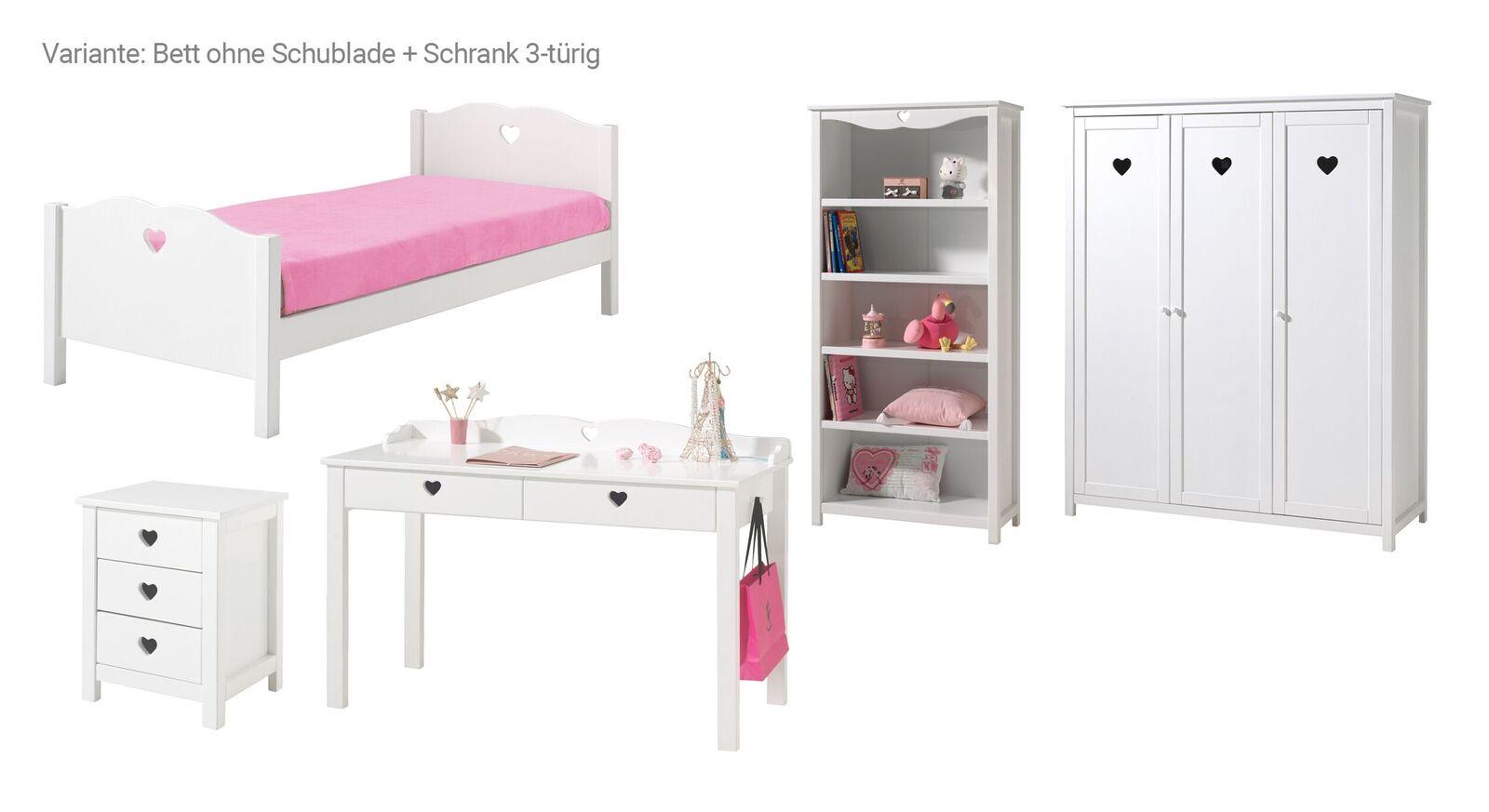 5-tlg Jugendzimmer Asami Bett ohne Schublade und 3-türiger Schrank
