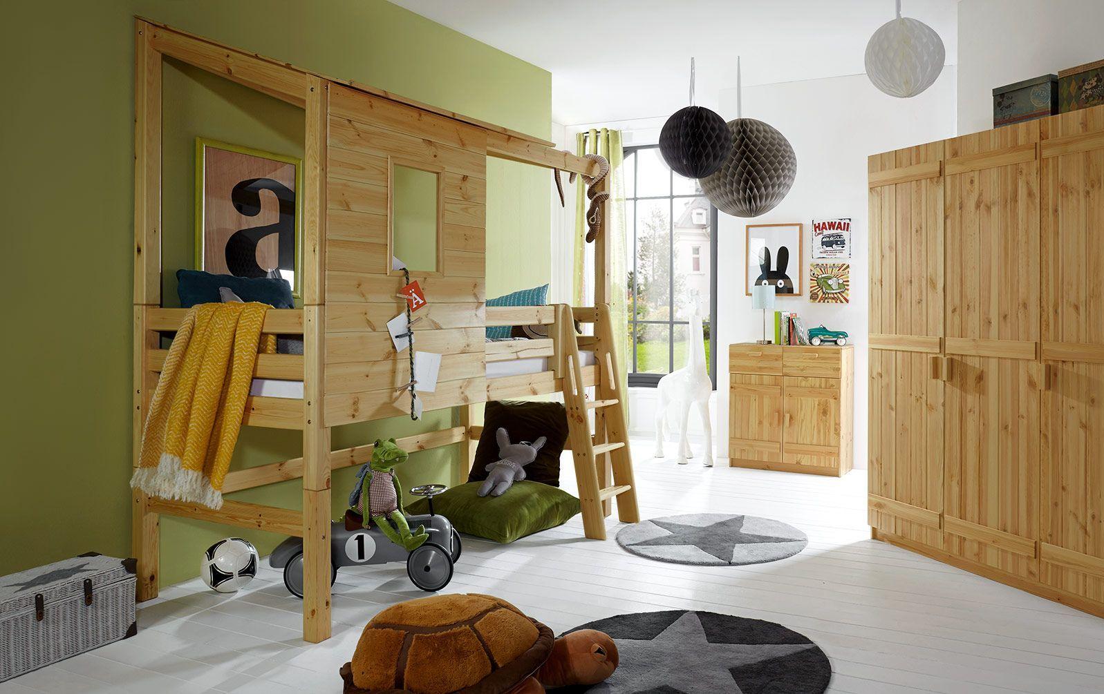 Abenteuer-Hochbett Kids Paradise in gelaugter Kiefer mit 117 cm Bettrahmenhöhe