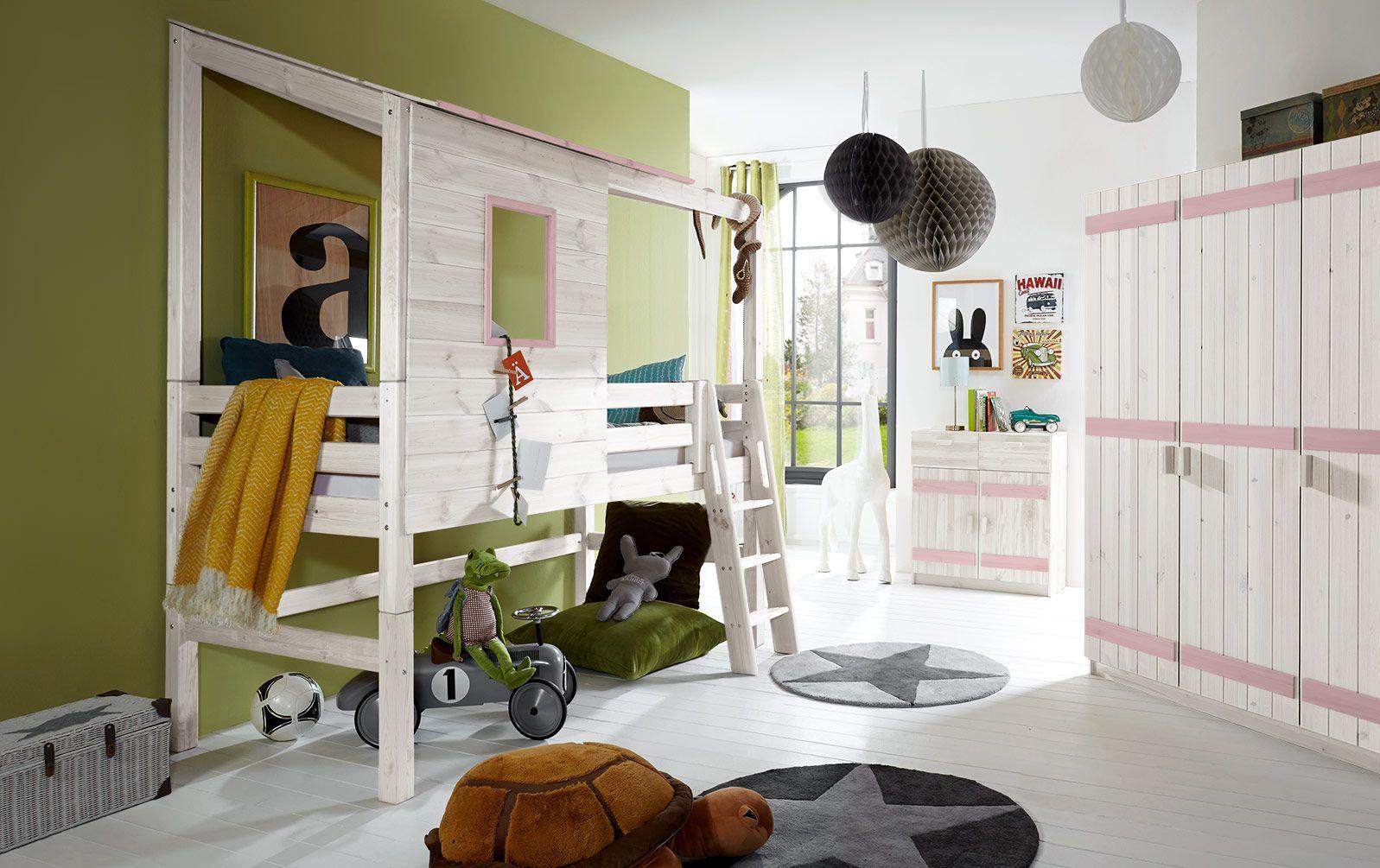 Weißes Abenteuer-Hochbett Kids Paradise mit Flieder in 117 cm Bettrahmenhöhe
