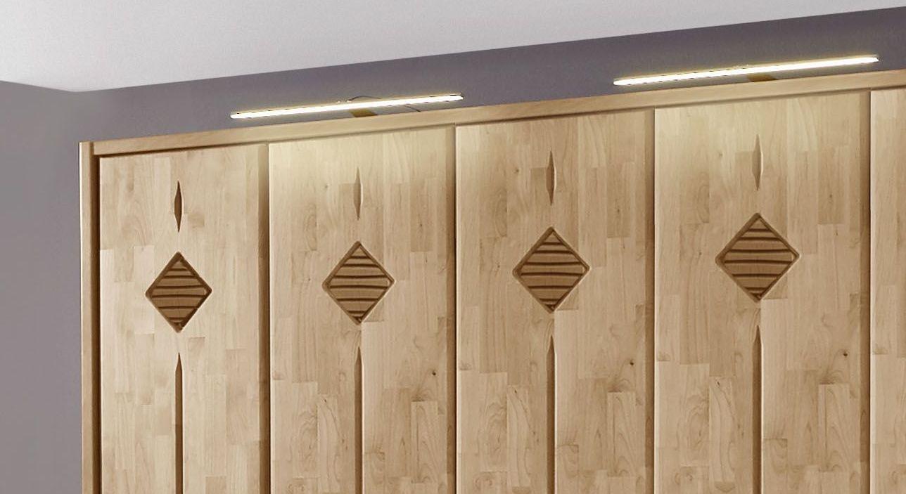 Drehtüren-Kleiderschrank Aliano mit Zierfräsungen und optionaler Beleuchtung