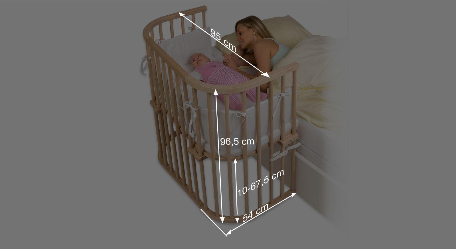 Bemaßungsgrafik zum Anstellbettchen BabyBay Boxspring