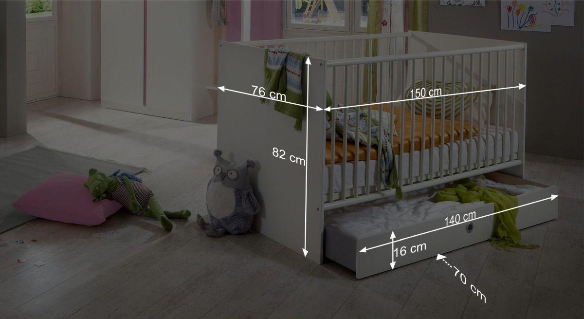 Bemaßungsgrafik zum Babybett Armilla