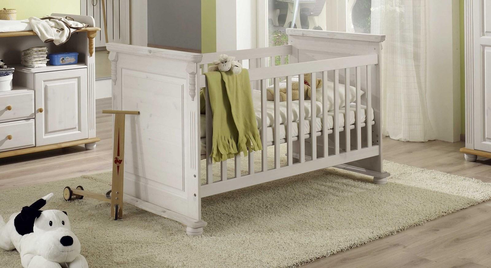 Unifarben weißes Babybett Countryside im Landhausstil