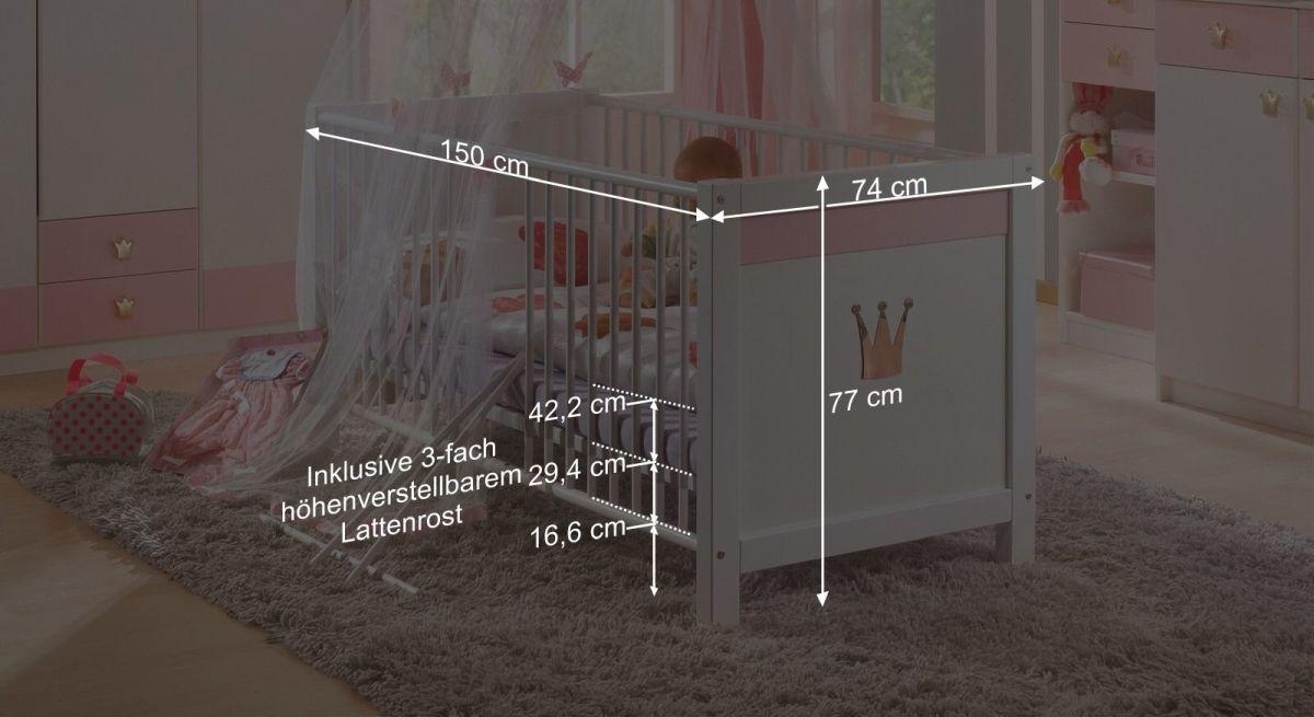 Bemaßungsgrafik zum Babybett Embala
