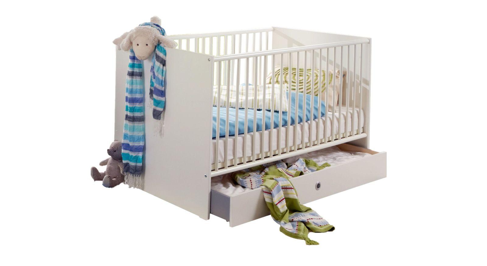 Gitter-Babybett mit Stauraum dank Bettschublade