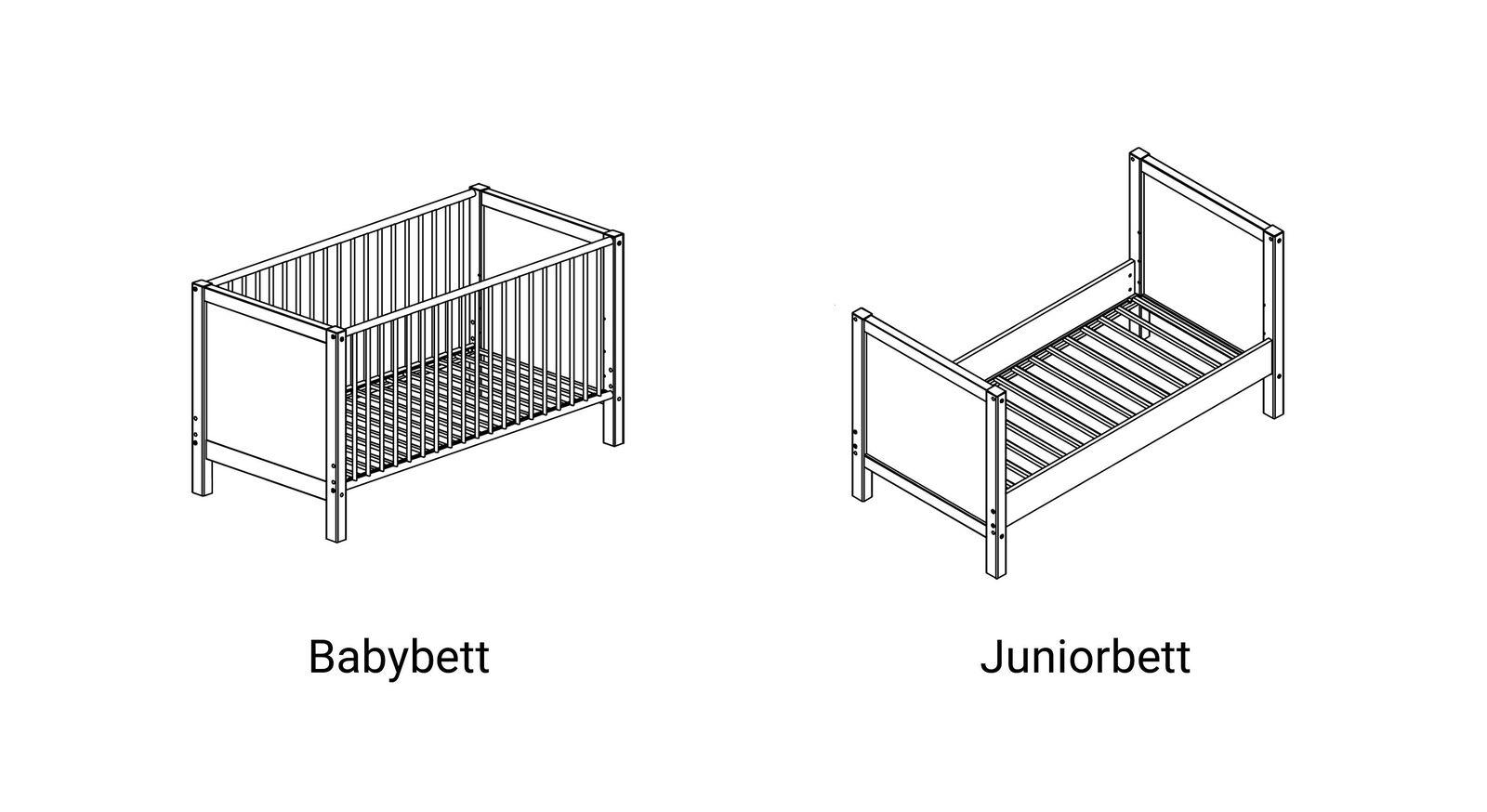 Grafik zum kinderleichten Umbau des Babybettes