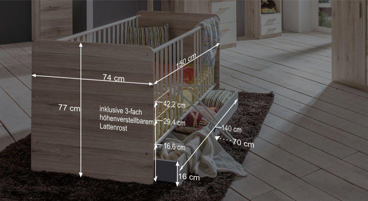 Maßgrafik zum Babybett Tropea