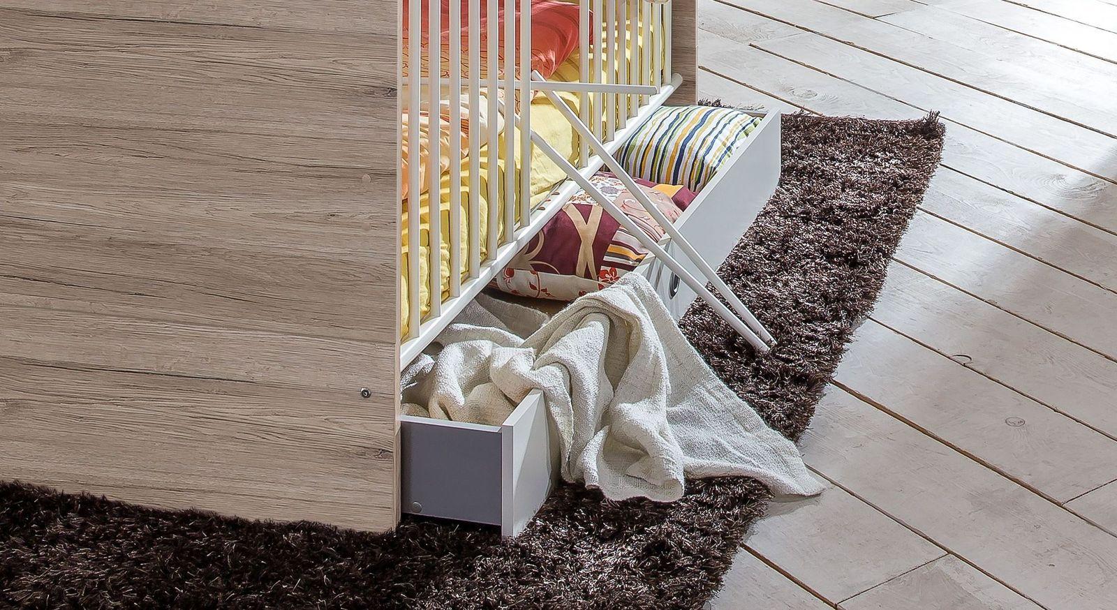 Babybetten Zagra und Tropea mit Schlupfsprossen und Bettschublade