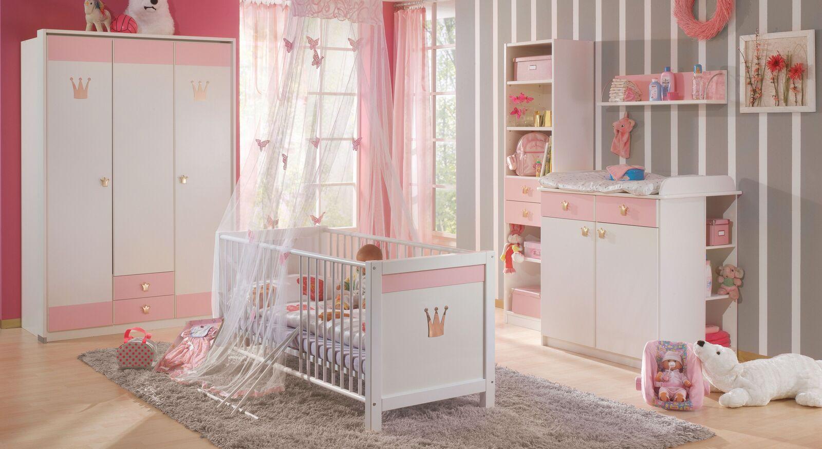 Babyzimmer Embala in Alpinweiß und Rosa