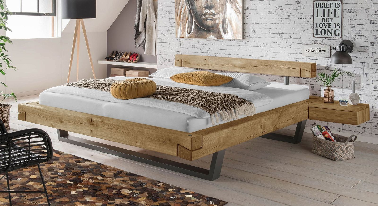 echtholz balkenbett aus wildeiche in schwebeoptik arsos. Black Bedroom Furniture Sets. Home Design Ideas