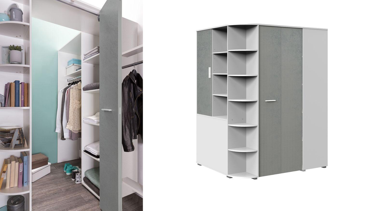 Begehbarer Eck-Kleiderschrank Porvenir mit praktischer Inneneinteilung