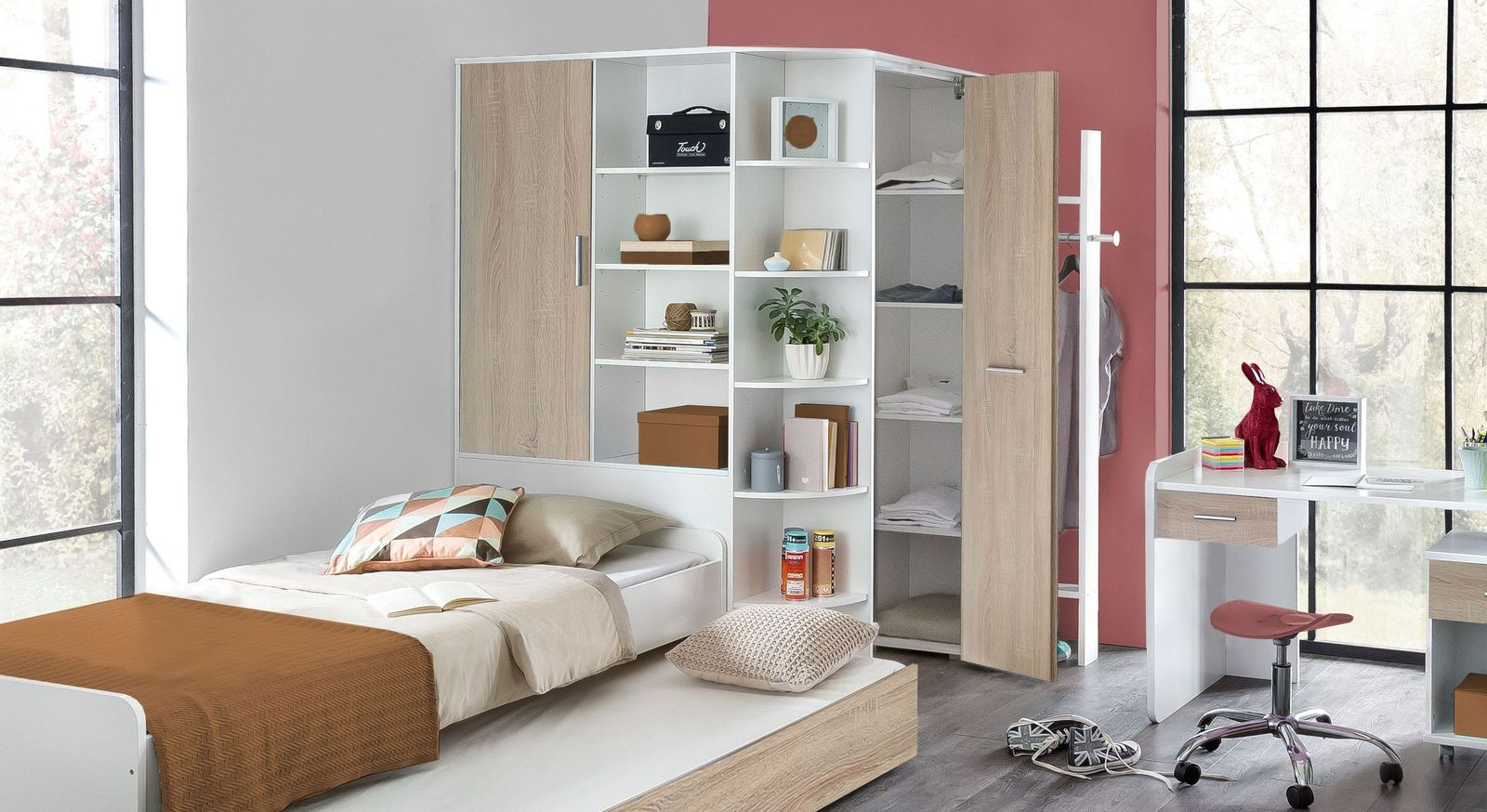 begehbarer eck kleiderschrank f r kinder jugendliche solero. Black Bedroom Furniture Sets. Home Design Ideas