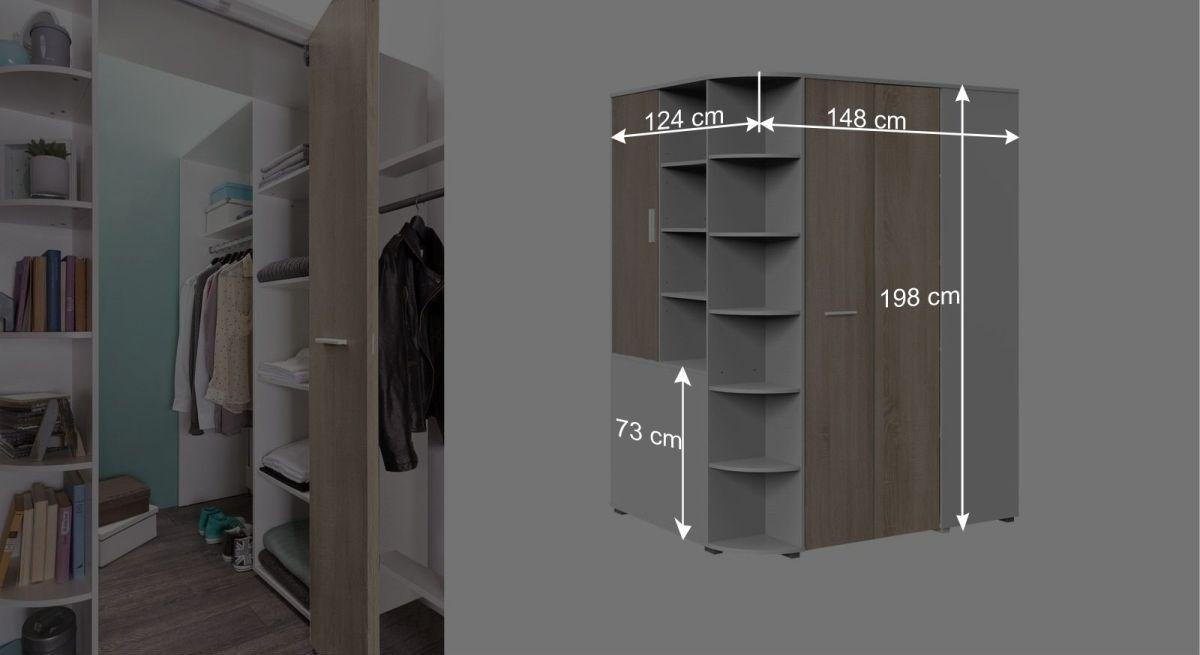 Maßgrafik zum begehbaren Eck-Kleiderschrank Solero