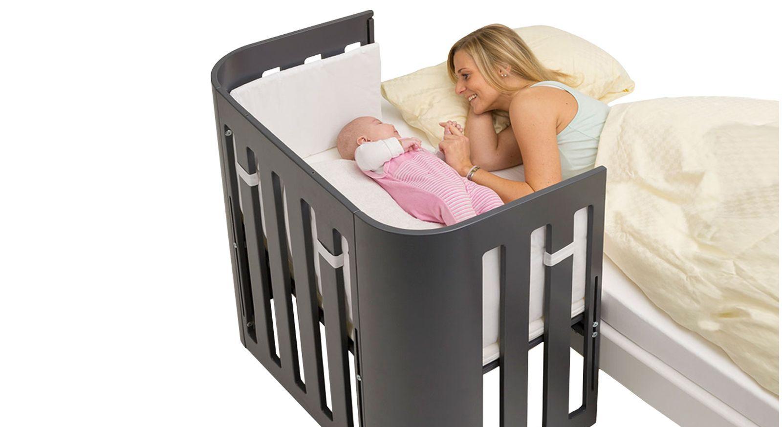 Beistellbett BabyBay Trend in Schiefergrau lackiert