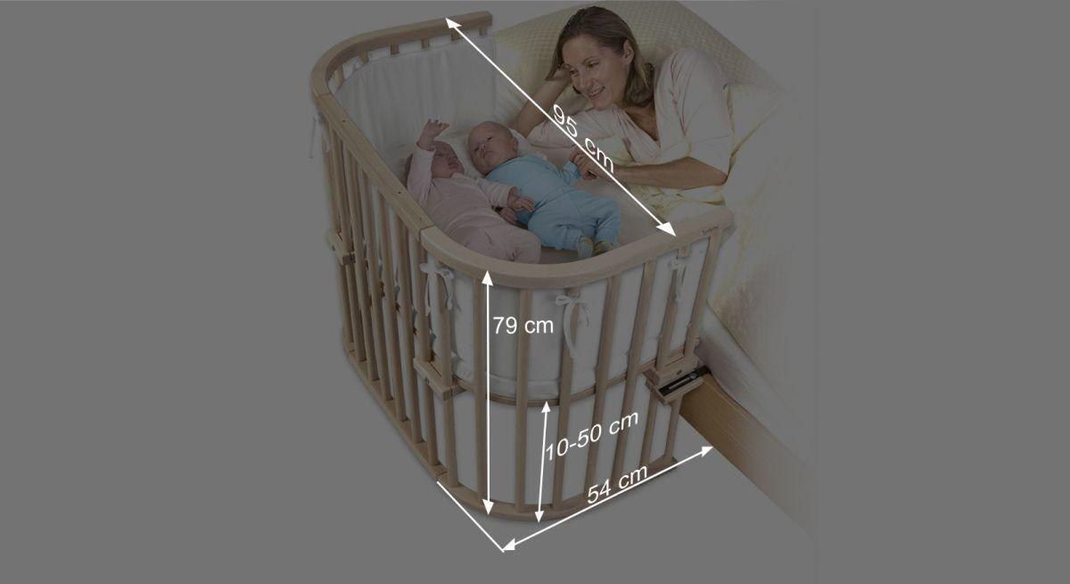 Bemaßungsgrafik zum Beistellbett BabyBay Maxi