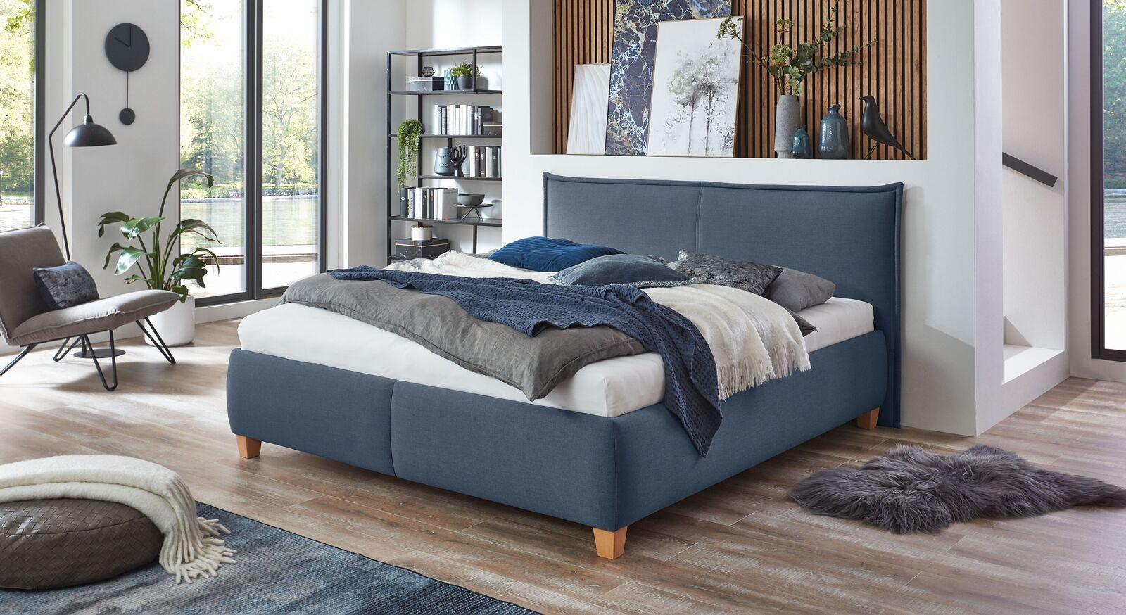 Bett Adana mit Webstoff in Blau
