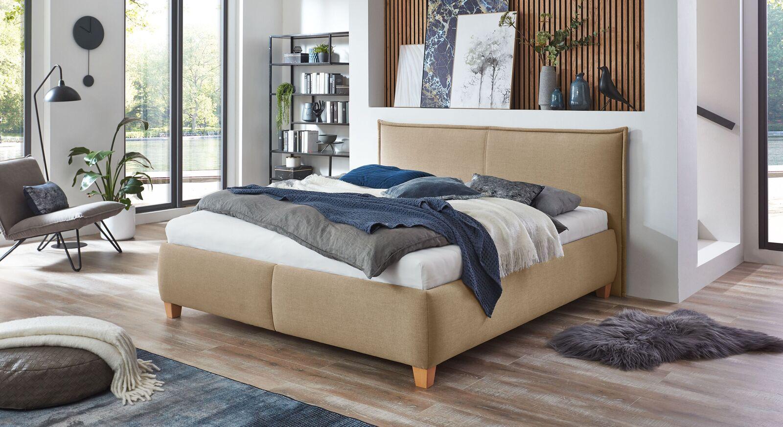Bett Adana mit Webstoff in Natur