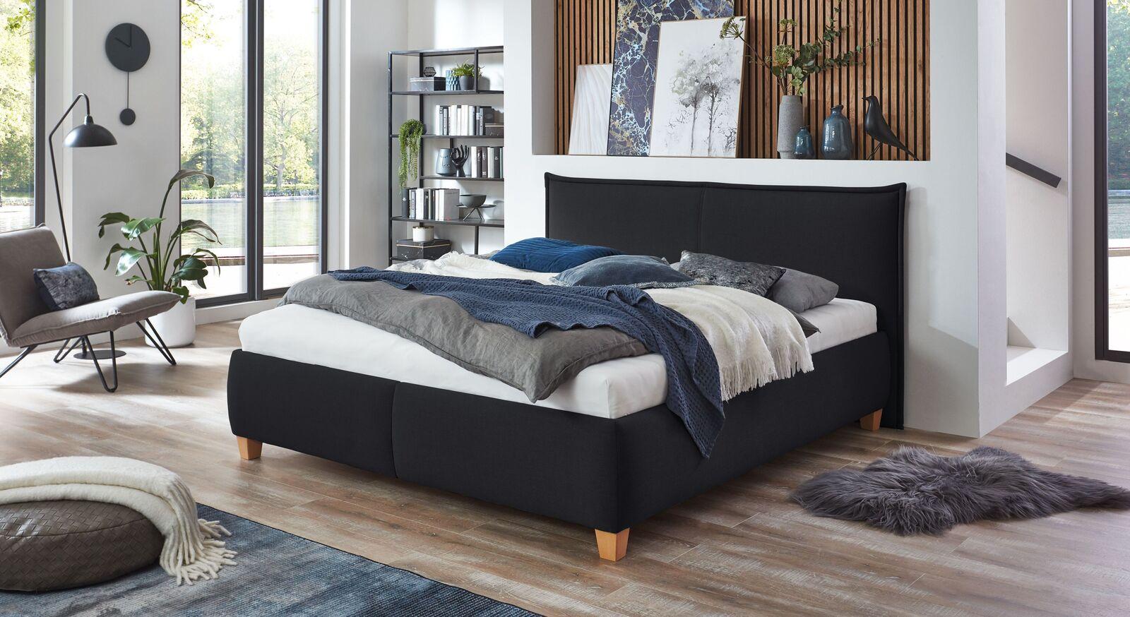 Bett Adana mit Webstoff in Schwarz