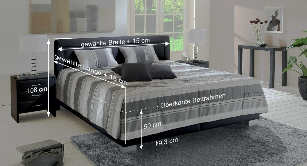 Bett Adriano mit Bemaßungs-Skizze