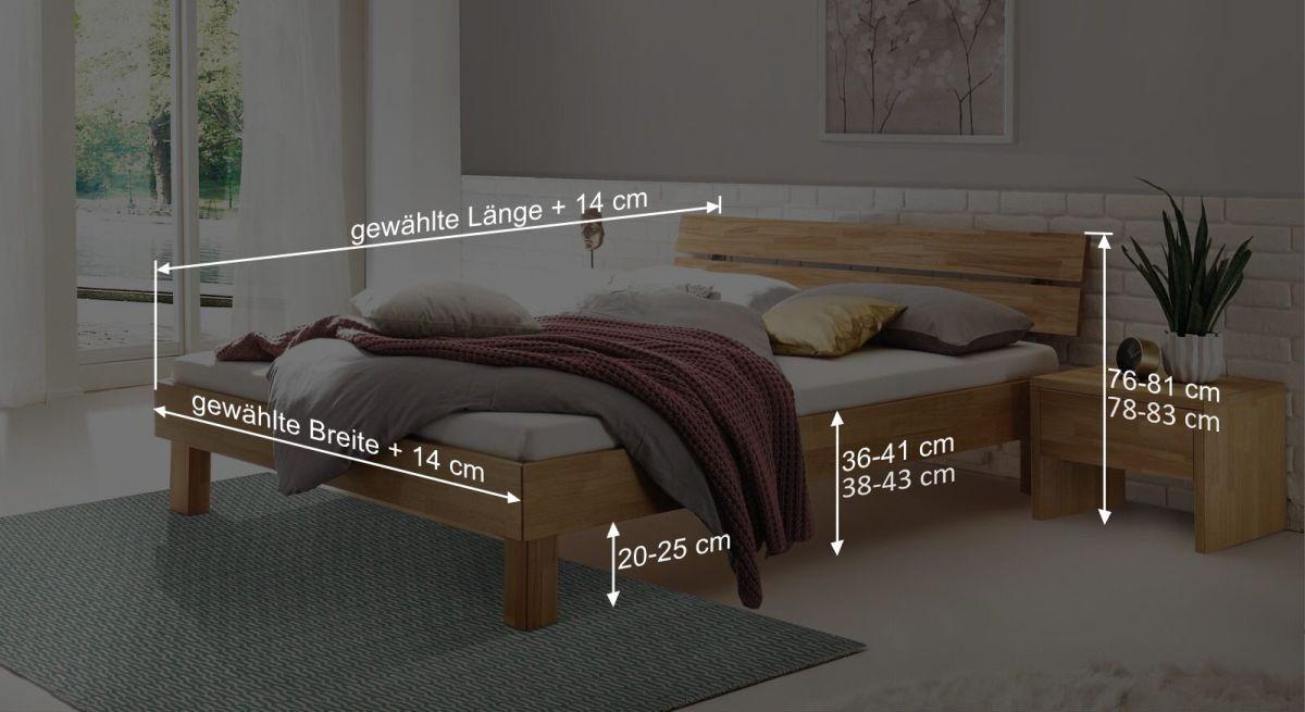 Bemaßungsgrafik zum Bett Advira