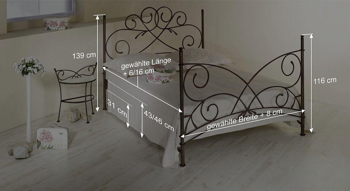 Doppelbett romantisch z.B. in Braun aus Metall - Amarete