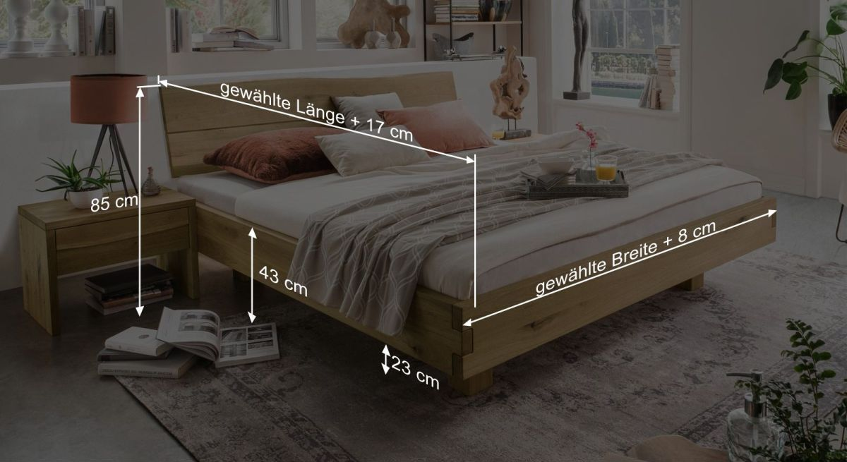 Bemaßungsgrafik zum Bett Andau