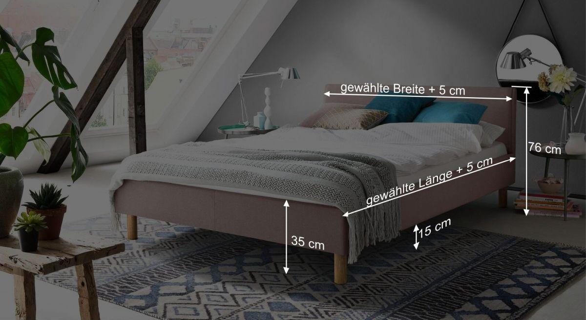 Bemaßungsgrafik vom Bett Arensa