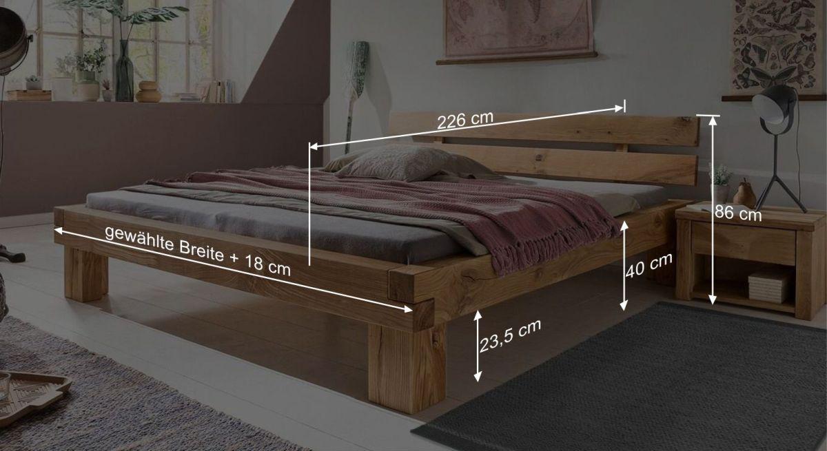 Bemaßungsgrafik vom Bett Areska
