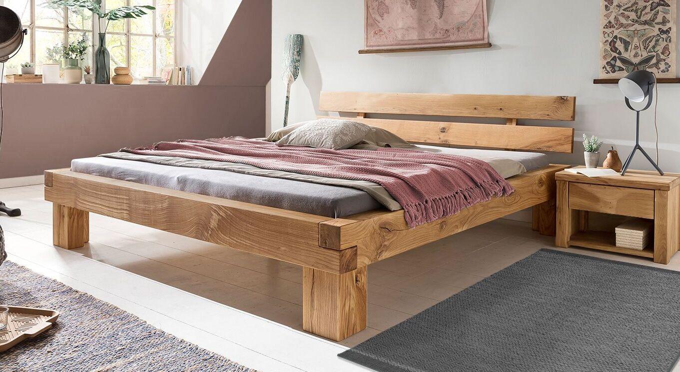 Bett Areska aus natur geölter Wildeiche