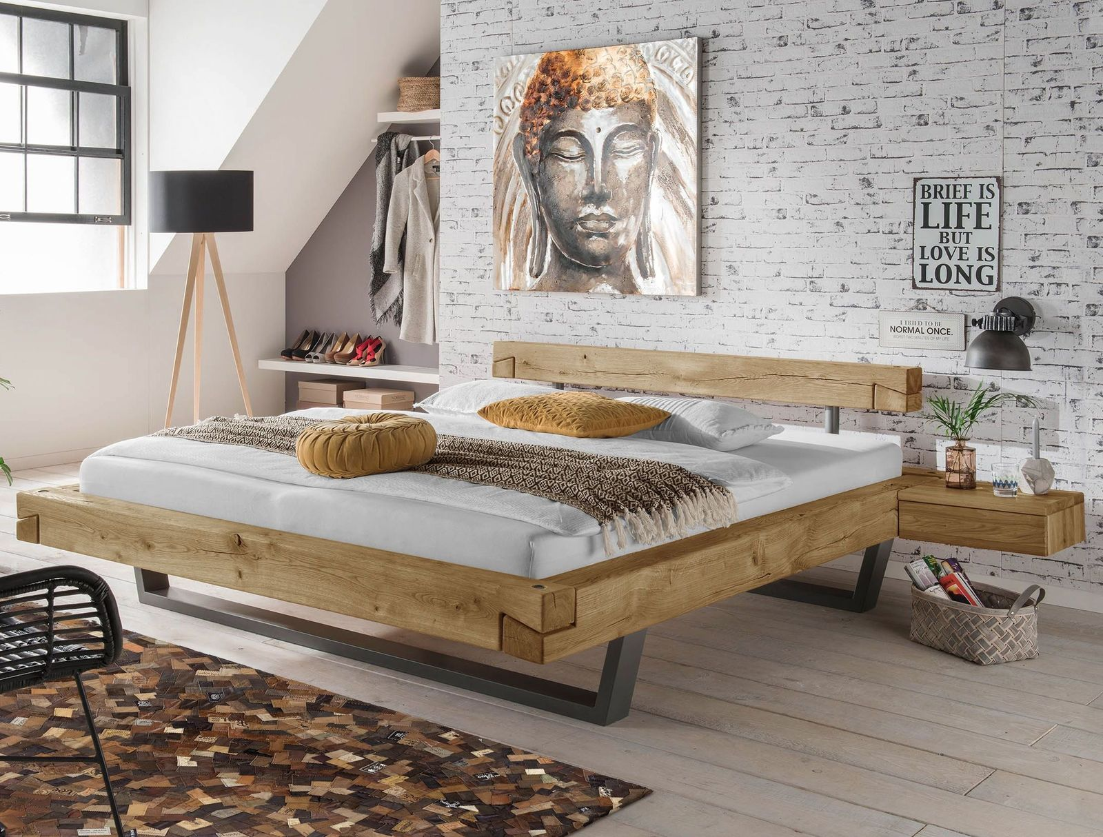 echtholz balkenbett aus wildeiche in schwebeoptik arsos. Black Bedroom Furniture Sets. Home Design Ideas