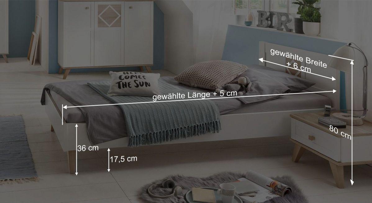 Bemaßungsgrafik zum Bett Atina