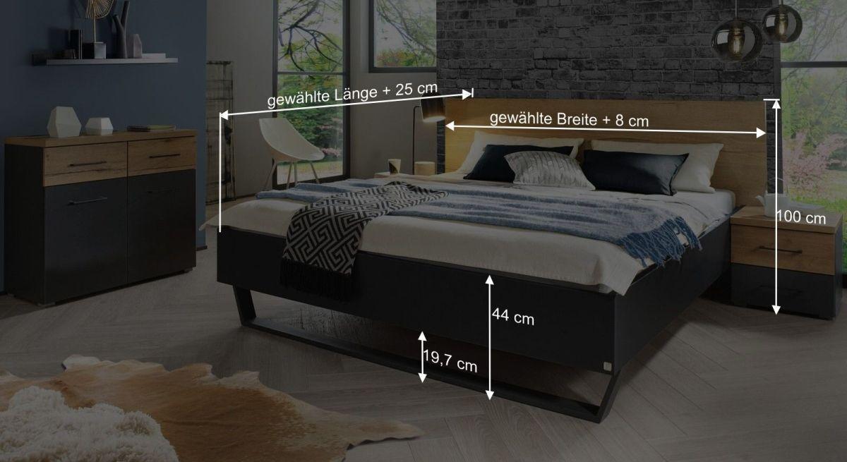 Bemaßungsgrafik zum Bett Azula