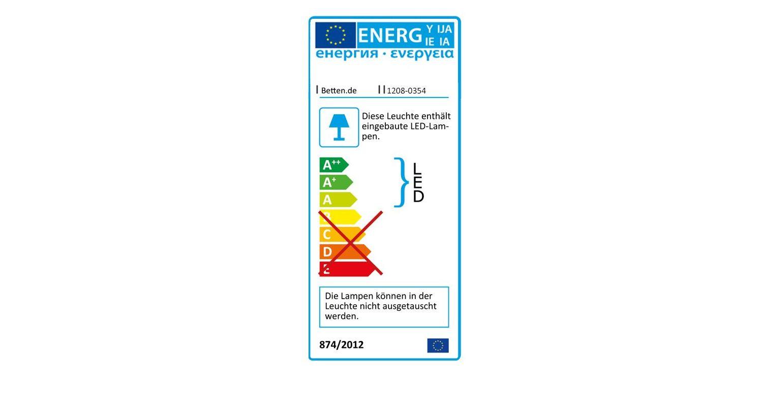 Bett Bakios Energieverbrauchskennzeichnung