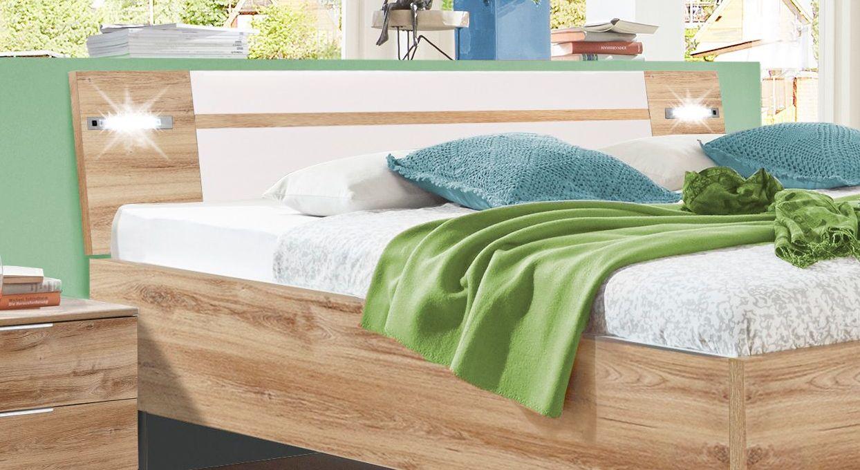Bett Bakios Kopfteil mit weißen Absetzungen