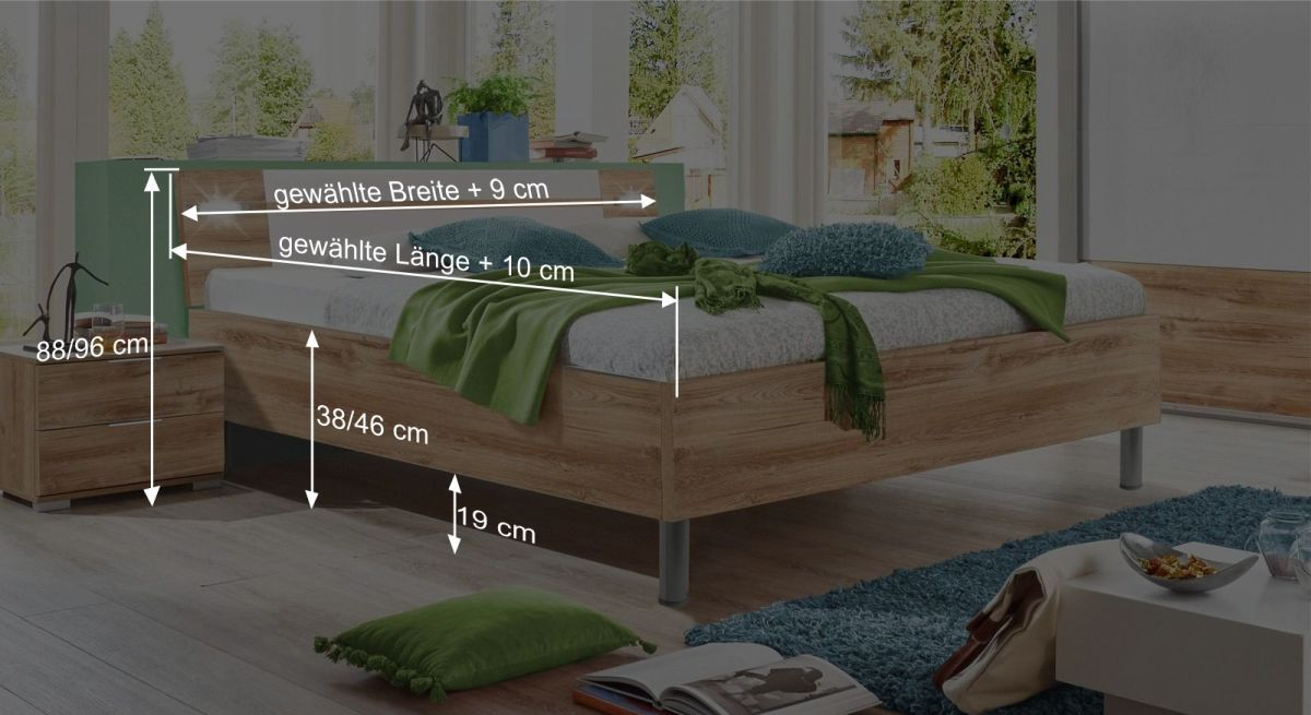Maßgrafik zum Bett Bakio