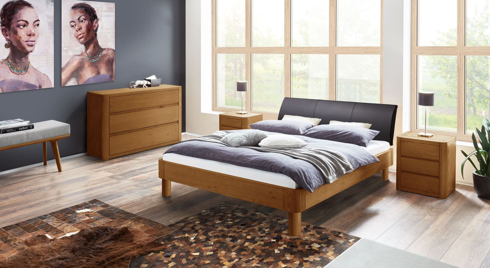 Bett Barbados mit passender Schlafzimmer-Ausstattung